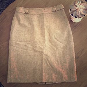 Ann Taylor Brown wool pencil skirt size 2